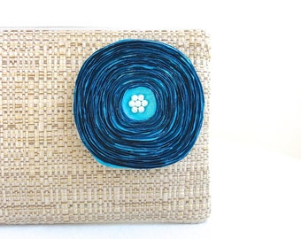 Tan Woven Clutch Handbag with Handmade Aqua Satin Flower - READY TO SHIP