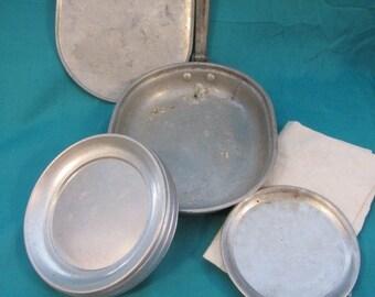 5 Piece Military Mess Kit, Army Grub Kit, WW 1 Meat Cans, Aluminum Military Grub Kit, Army Surplus Mess Kit, Camping Mess Kit Vintage