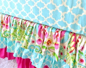 Tiered Ruffle Crib Skirt, Ruffled Crib Skirt, Hot Pink Ruffled Crib Skirt, Dust Ruffle, Beautiful Baby Bedding, Kumari Crib Skirt