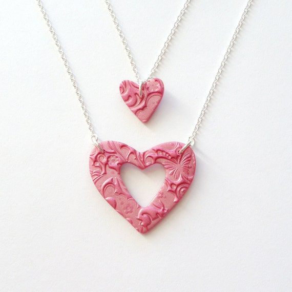 Mother and Daughter Matching Necklace Set in Hot Pink