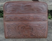 Mexican tooled leather purse 70s brown floral handbag Avelar's hippie boho handbag