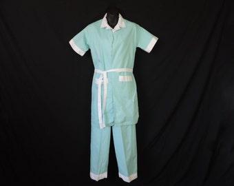 1950's turquoise pajama set mid-century pj pants top and robe medium large new old stock