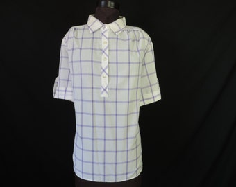 purple plaid henley blouse 70s retro pastel tartan plus size tunic 2X new old stock