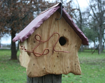 Birdhouse Rustic Ceramic Roof Sculpted O.O.A.K Bird House Bird Home Birdhome Bird Habitat