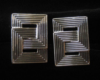 Swank Interlocking Square Silver Tone Cuff Links
