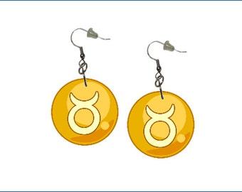 Zodiac Earrings Taurus Dangle Earrings Astrology Earrings Zodiac Symbol Taurus