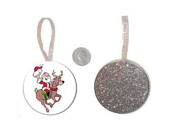 Cowboy Santa Claus Christmas Tree Ornament Santa Riding Reindeer