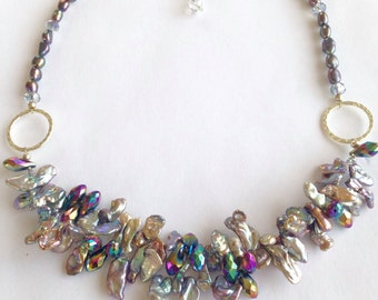 Statement Necklace, Grey, Freshwater Pearls and Crystals