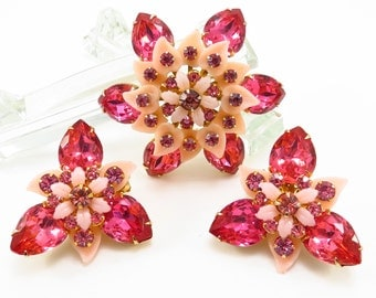 Blush Pink Fushia Flower Large Rhinestone Brooch Set Vintage 1950s Floral Mid Century Broach and Earrings Set - FREE Domestic Shipping