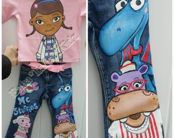 Boutique custom shorts jeans or skirt set hand painted size 12 18 24 2 3 4 5 6 7 8 9 10 ETSYKIDS