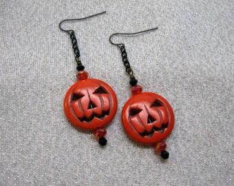 Halloween Jack-O-Lantern Dangle Earrings