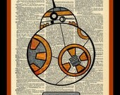 Buy Any 2 Prints get 1 Free BB 8 Robot Star Wars Vintage Dictionary Art