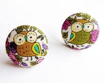 Clip On Earrings / Stud Earrings / Button Earrings - owl earrings