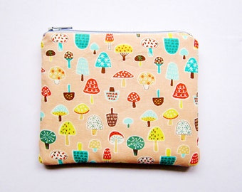 Zipper Pouch - Mushrooms on Salmon Pink - Available in Small / Large / Long