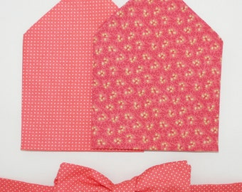 Men's Bow-tie & Pocket Square set - Salmon duo, polka dot, floral, men's gift set