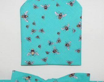 Men's Bow-tie & Pocket Square set - Bees, bumble bees, insects, men's gift set, beekeeper