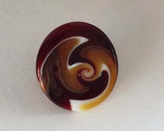 White/Red/Butterscotch Lampwork Glass Button by Greg Hanson with Self Shank