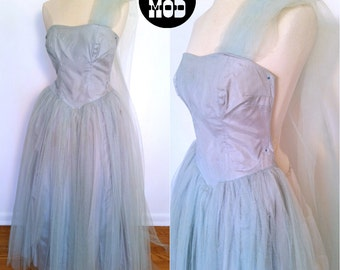 Dusty Powder Blue Vintage 50s Princess Party Gown - So Dreamy and Pretty!