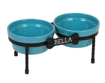 Raised Dog Bowl - Diner - Ceramic dog bowls - Pet Bowls with metal Stand - turquoise - Red - White