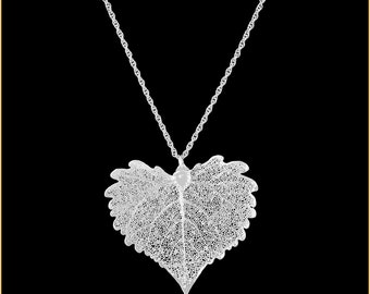Real Cottonwood Leaf Dipped In Silver Pendant - Real Dipped Leaf - In Gift Box