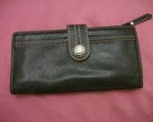 Vintage Wallet - Fossil Original - Black Leather ~ Lined Interior - Change Purse - Woman's Clutch Wallet -Multi Pocket