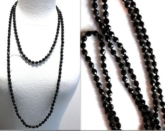 1 Vintage 1950s Necklace // 50s 60s does 1920s Czech Glass Jet Beaded Long Flapper Necklace // NOS // 60 inches