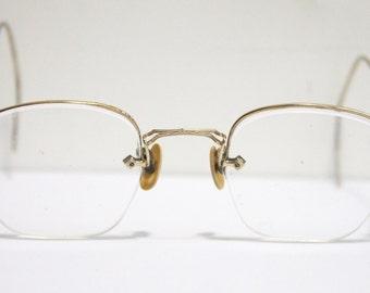 Antique 1920s Eyeglasses // 20s 30s Rare Vintage Frames // 10k Gold-filled // Art Deco //  Hexagon Lens // AM002