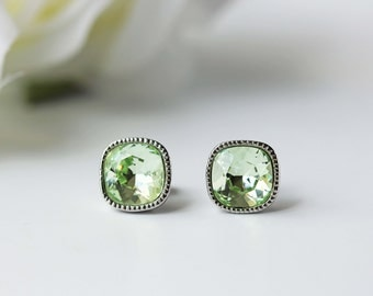 Chrysolite Green Swarovski Titanium Studs Square Modern Earrings