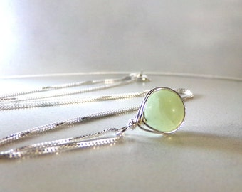 New Jade Necklace, Sterling Silver, Pale Green Necklace, Natural Stone, Chartreuse Necklace, Celery Jade Necklace, Simple - Sweet Pea