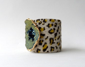 "leather cuff bracelet  -cheetah hair on hide with druzy- 2"" wide"