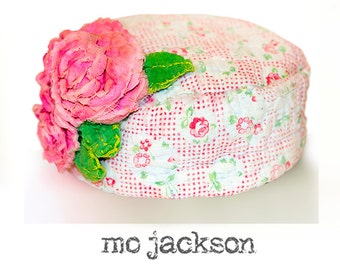 baby hat / one of a kind from antique quilt