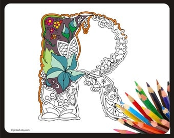 "Letter ""R"" Lilly style alphabet  Adult coloring page"