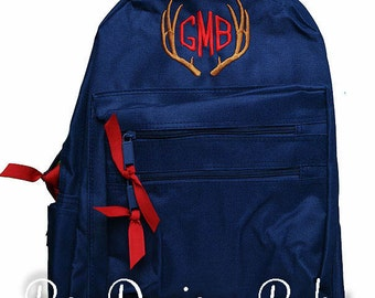 Boys Personalized Backpack, Antler Backpack, Hunting Backpack, Boys Antler Monogrammed Backpack, Choose Your Own Colors