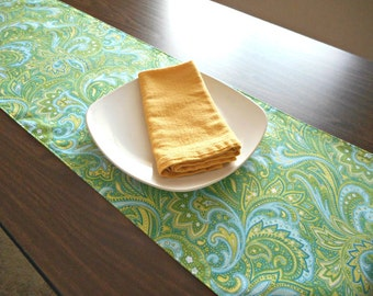 Paisley Table Runner Lime Green Blue White Floral Boxwood Branches Reversible Hostess Gift