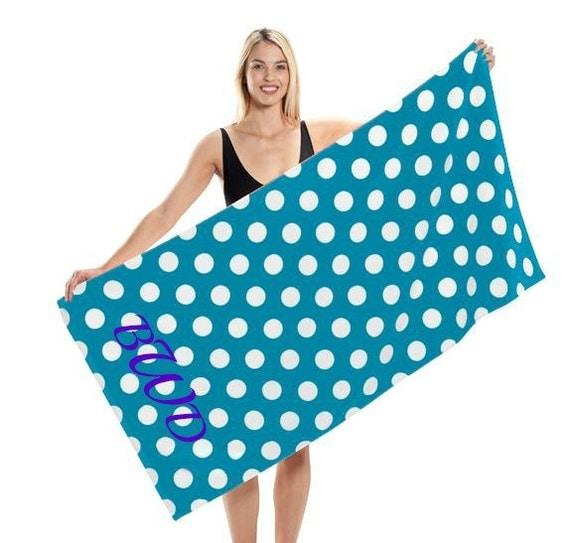 Monogrammed Beach Towel Polka Dot Beach Towel By Tjembroidery