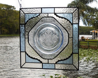 Stained Glass Window Suncatcher, Depression Glass Madrid Stained Glass Plate Panel, Antique Stained Glass Transom Window, Glass Garden Art