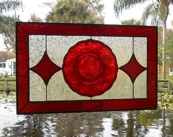 Stained Glass Panel, Antique Window Valance, Stained Glass Transom Window,  Princess House Fantasia Plate Panel, Original Handmade Glass Art