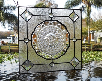 Original design Recycled Stained Glass Panel with Katy Lace Edge Depression Glass circa 1935, OOAK Window Transom or Valance