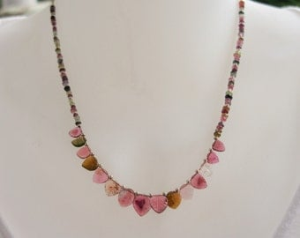 Watermelon tourmaline gemstone necklace, sterling silver, fine jewelry, unique, handmade classic