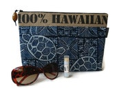 New Design. Valentine Gift. Burlap and Turtle Print Clutch with Koa Pull. Repurposed Hawaii, USA Coffee Bag. Handmade in Hawaii.
