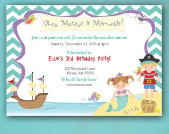 Mermaid and Pirate Invitations, Purple, Turquoise, PRINTED Invitations
