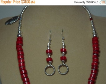 RED SEA CORAL And .925 Silver Necklace And Earrings