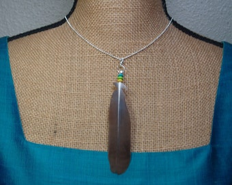 Peace Dove Feather Silver Chain Necklace