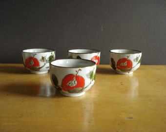 Red and Green Flower Mugs - Set of Four Vintage Coffee Cups or Teacups without Handles