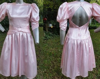 80s Prom Dress, Vintage Bridesmaid Dress, Open Back Dress, Vintage Dress, 80s Dress, Satin Dress in Pink by Jessica McClintock Size 8-10