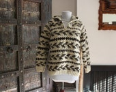 vintage chunky Cowichan hooded sweater