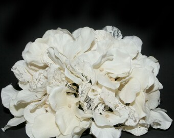 Antique Ivory Lace Hydrangea Bunch - Full Head - Artificial Flowers, Blossoms, Silk Flowers