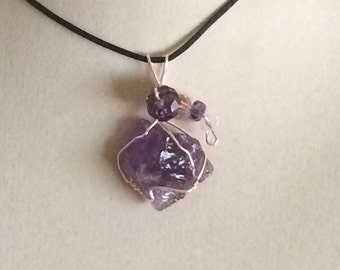 Wire Wrapped Natural Amethyst Point Pendant