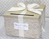 Wedding Card Box Champagne and Ivory Lace Vintage Style Wedding Card Holder Customizable