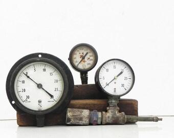 3 salvaged Vintage Gauges Meters Steampunk Assemblage Supply Industrial decor Repurpose